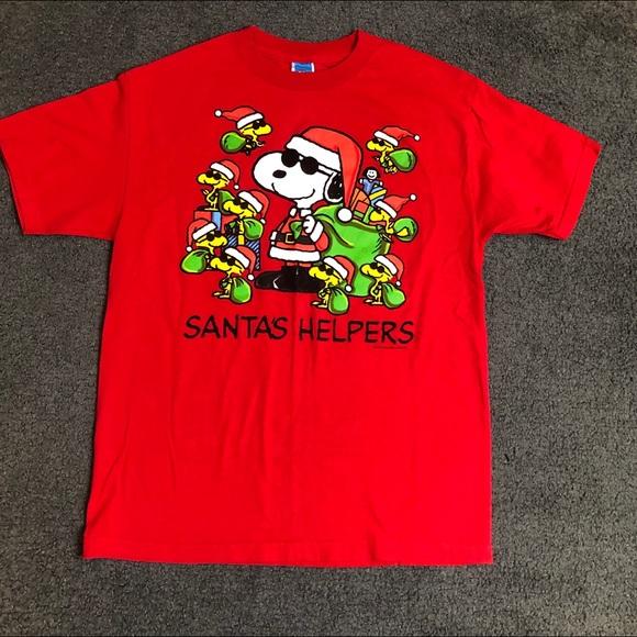 9c8ede9ee Peanuts Shirts | Woodstock Snoopy Santas Helpers Tshirt L | Poshmark
